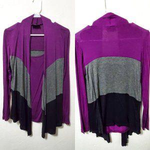Lavish Purple Color Block Cardigan Sz S